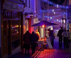 The Old Quarter in Guernsey is always lit up which gives a lovely setting for their Christmas stalls