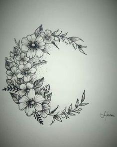 Tattoo moon flower Tatuagem lua flores