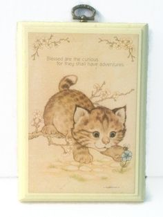 CLEARANCE 50% OFF Hallmark Curious Kitten Plaque 1979 Blessed are the Curious Wall Hanging Child's Room Vintage Nursery Decor by ThriftyTheresa