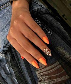 Diseños de Uñas para Chicas súper Coquetos y Lindos - Нейл арт - Polygel Nails, Neon Nails, Yellow Nails, Hair And Nails, Nail Nail, Bright Colored Nails, Orange Nail Art, Neon Orange Nails, Coffin Nails