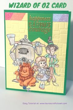 Courage is contagious! Check out how this colorful encouragement card featuring the gang from wizard of oz and rainbow colors can be easily created! Rainbow Card, Rainbow Colors, Yellow Brick Road, Fun Challenges, Over The Rainbow, Wizard Of Oz, Digital Stamps, Scrapbook Paper, Sewing Projects