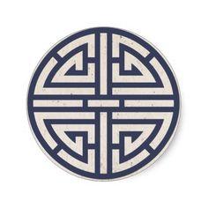 Ancient Symbols of Love | Navy Korean Paper(Hanji) Ancient Symbol Of Luck Sticker