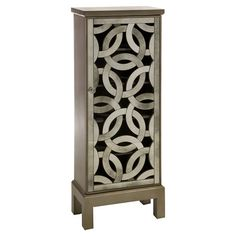 One-door cabinet with an openwork elliptical design.   Product: CabinetConstruction Material: MDF and mirror