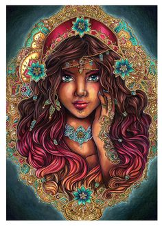 PRINT The Seer Beautiful gypsy portrait indian pattern by Sakuems