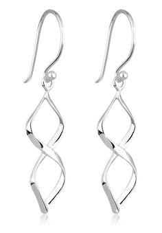 Ohrringe Spirale. Wunderschöne in sich gedrehte Ohrhänger (26x10mm) aus feinem 925er Sterling Silber, hochglanzpoliert