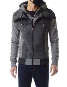 Layered Design Zip Quilted Fleece Hoodie Jacket