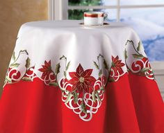Collections Etc Embroidered Christmas Poinsettia Table Linens, Square Poinsettia Flower, Christmas Poinsettia, Christmas Holidays, Winter Holiday, Christmas Table Cloth, Indoor Christmas Decorations, Table Decorations, Collections Etc, Elegant Christmas