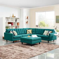Looking for Modway Empress Mid-Century Modern Upholstered Fabric Sectional Sofa Set In Teal ? Check out our picks for the Modway Empress Mid-Century Modern Upholstered Fabric Sectional Sofa Set In Teal from the popular stores - all in one. Teal Living Rooms, Living Room Sofa, Living Room Designs, Living Room Furniture, Living Room Decor, Home Furniture, Turquoise Sofa, Teal Sofa, Sofa Set Designs