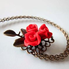 Vintage Style Red Rose Necklace  Polymer Clay by beadscraftz