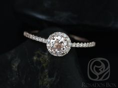 Amanda 5mm 14kt Rose Gold Round Morganite and Diamonds Halo