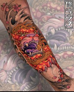 Fu Dog, Sleeve Tattoos, Skull, Tattoo Sleeves, Arm Tattoo, Arm Tattoos, Skulls, Sugar Skull, Shoulder Sleeve Tattoos