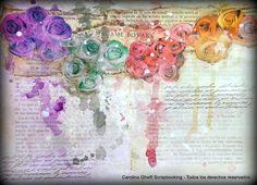 """Bruma Brillante ROJO TENDENCIAS [TEN-BB-101] Tercer color de """"chorreadura"""" en la foto de rositas sobre libro viejo... un tono bellísimo para aportar toques de pasión a cualquier página o tarjeta. :)"""