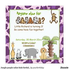 #Jungle purple safari kids #birthday party #invitation
