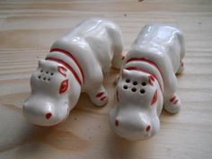 Vintage Happy Hippopotami Salt and Pepper Shakers by DEWshophere, $35.00