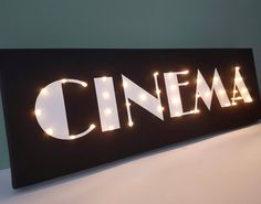 Cinema sign Cinema decor Vintage cinema Man gift Guy cave | Etsy Light Up Signs, Light Up Letters, Movie Themed Rooms, Cinema Sign, Marquee Letters, Bedroom Stuff, Led Signs, Unique Wall Decor, Room Themes