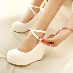 White Wedge Shoes, Platform Wedges Shoes, Ankle Strap Shoes, Platform High Heels, High Heel Pumps, Pump Shoes, White Wedges, White High Heels, High Shoes