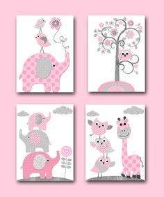 Playroom Decor Elephant Nursery Decor Baby Shower Gift Kids Art for Children Kids Wall Art Baby Girl Nursery Print set of 4 8x10 Pink Gray