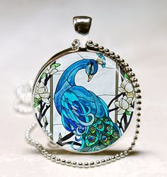 Blue Peacock Necklace Bird Nature Glass Dome Art Pendant With Ball Chain Included