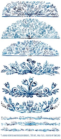 It will be beautiful indigo embellishment for all your stationery projects wedding invitations greeting cards gift tags but also for web Watercolor Wedding Invitations, Calligraphy Watercolor, Flourish Calligraphy, S Tattoo, Floral Border, Watercolor Flowers, Watercolor Border, Watercolour, How To Draw Hands