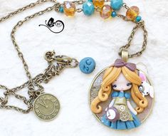 polymer clay necklace / steampunk Alice / by ZingaraCreativa