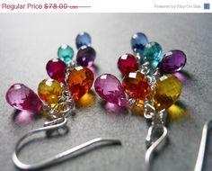 ANNIVERSARY SALE ends 7/15 Rainbow earrings, Multi color quartz teardrop earrings,  Goody Goody Gumdrops, gemstone earring, multicolor earri on Etsy, $70.20