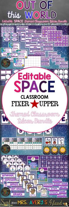 "This editable space themed classroom decor bundle is truly ""out of this world""!  Editable templates are included for you to include your creative ideas to personalize your classroom!  Click the link below to discover everything you need to welcome your elementary students back to school in style!"
