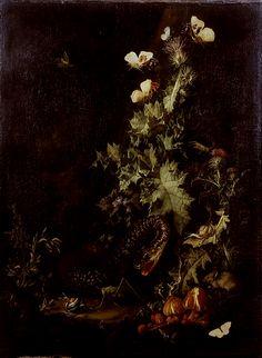 dutch-and-flemish-painters:  jiradevan:  Elias van den Broeck,Still Life with a Snake  Elias van den Broeck (1649, Antwerp – buried 6 February 1708, Amsterdam) was a Dutch Golden Age flower painter.