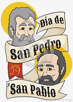Illustration about Commemorative poster to commemorate Saints Peter and Paul Feast Day written in Spanish with their faces behind a greeting ribbon. Illustration of disciple, holiday, paul - 94951500 St Peter And Paul, San Pablo, Branding Design, Saints, Spanish, Day, Ribbon, Faces, Illustration
