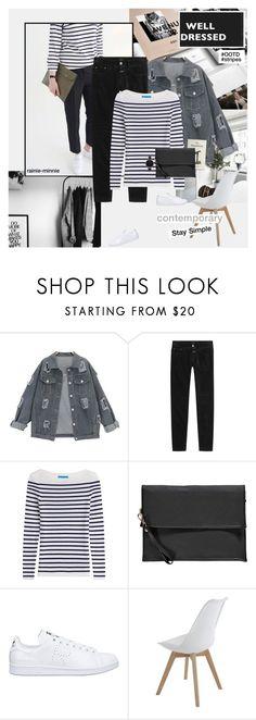 """Simple Stripes"" by rainie-minnie ❤ liked on Polyvore featuring Closed, M.i.h Jeans, Boohoo, adidas and Olivia Burton"