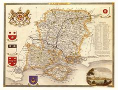 Hampshire, Antique English County Map of Hampshire, 1841 by Thomas Moule - PRINT