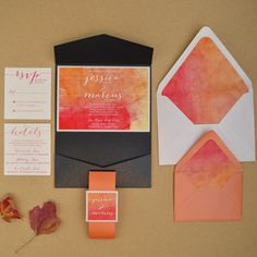 Warm autumn water colors and calligraphy inspired wedding invitation suite