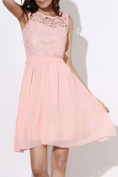 $14.90 Round Collar Sleeveless Women's Club Dress - Light Pink