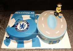 Number 50 birthday cake for a Chelsea supporting London marathon runner.