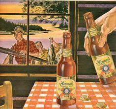 Hamm/'s Beer bear strike on back cover vintage Reproduction metal sign 8 x 12