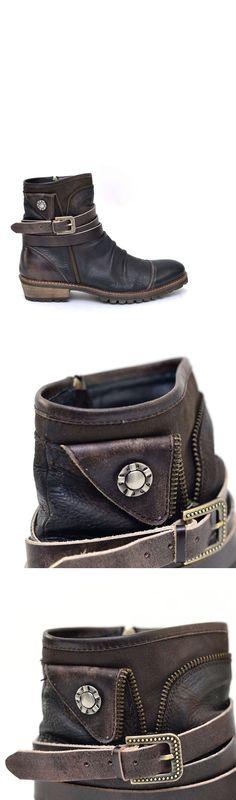 Shoes :: Vintage Belted Wrinkle Biker Boots-Shoes 382 - GUYLOOK Men's Trendy Fashion Clothing Online