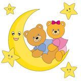 Bears sitting on the moon Royalty Free Stock Photo