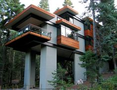 Steel Tree House  Joel Sherman of J.L.S. design brought the house up into the trees.  Lake Tahoe, California.