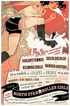 Roller derby bout poster