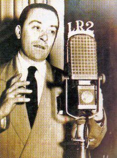 Héctor Gagliardi (1909-1984),  poeta, recitador y letrista de tango argentino en LR2 RADIO ARGENTINA, Buenos Aires, década del 40.