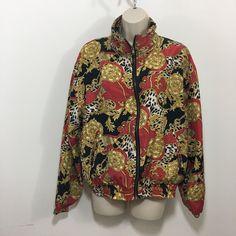 585a2f5cf0 Vintage 80s 90s EVR Windbreaker Jacket Warm Up Womens M 100% Silk Animal  Print