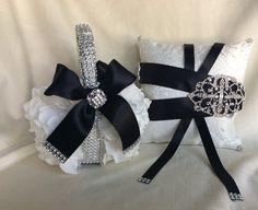 black and white flower girl basket bling by TheCrystalFlower