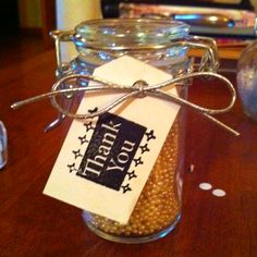 Bath pearls in a reusable jar as bridal shower party favors. Cut & hole punched tag, then stamped & tied around jar.