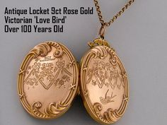 Antique Locket Victorian Locket Rose Gold / 9K Gold Locket / Large Oval Locket Bird Wedding Anniversary Locket Necklace  A GIFT OF LOVE TO