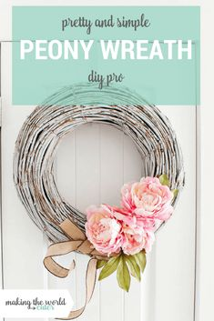 DIY Home Decor: Learn how to make a pretty peony spring wreath. This couldn't be an easier or prettier project to adorn your front door this season. Diy Spring Wreath, Fall Wreaths, Diy Wreath, Spring Crafts, Wreath Ideas, Door Wreaths, Tulle Wreath, Floral Wreaths, Burlap Wreaths