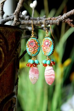 Rhodochrosite Mexical Opal Quartz Mint Czech beads by Peelirohini
