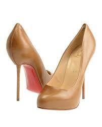 tan christian louboutin stacked heels
