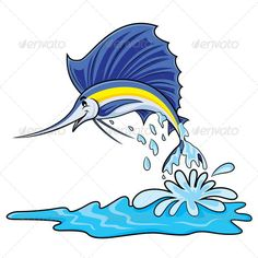 Marlin Fish Cartoon  #GraphicRiver