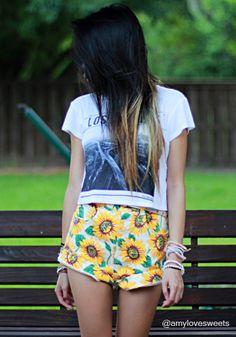 Sunflower High Waist Shorts