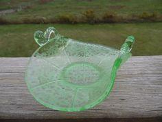 Fenton #1684 Green Ming Dolphin  Handled Oval Bon Bon Dish Vintage Glass #Fenton