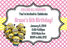 Minion Birthday Party Invitation Printable by CollarCityDesigns, $8.00